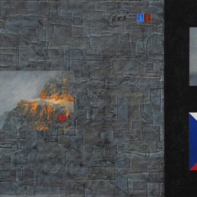 """The Prime Elements #683  24"""" x 48"""" mixed media on birch panel"""